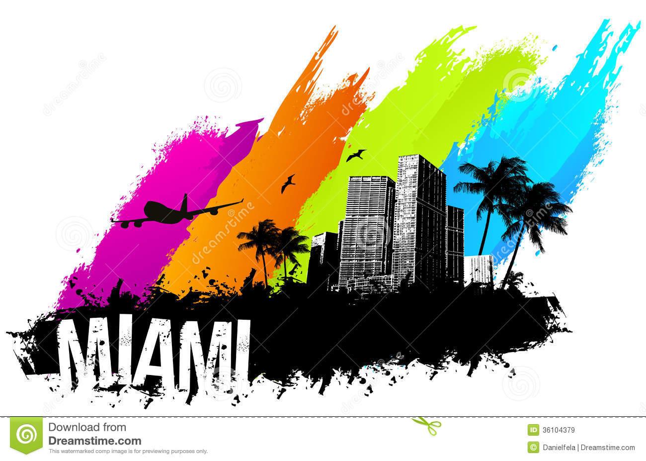 Miami City Background Clipart.
