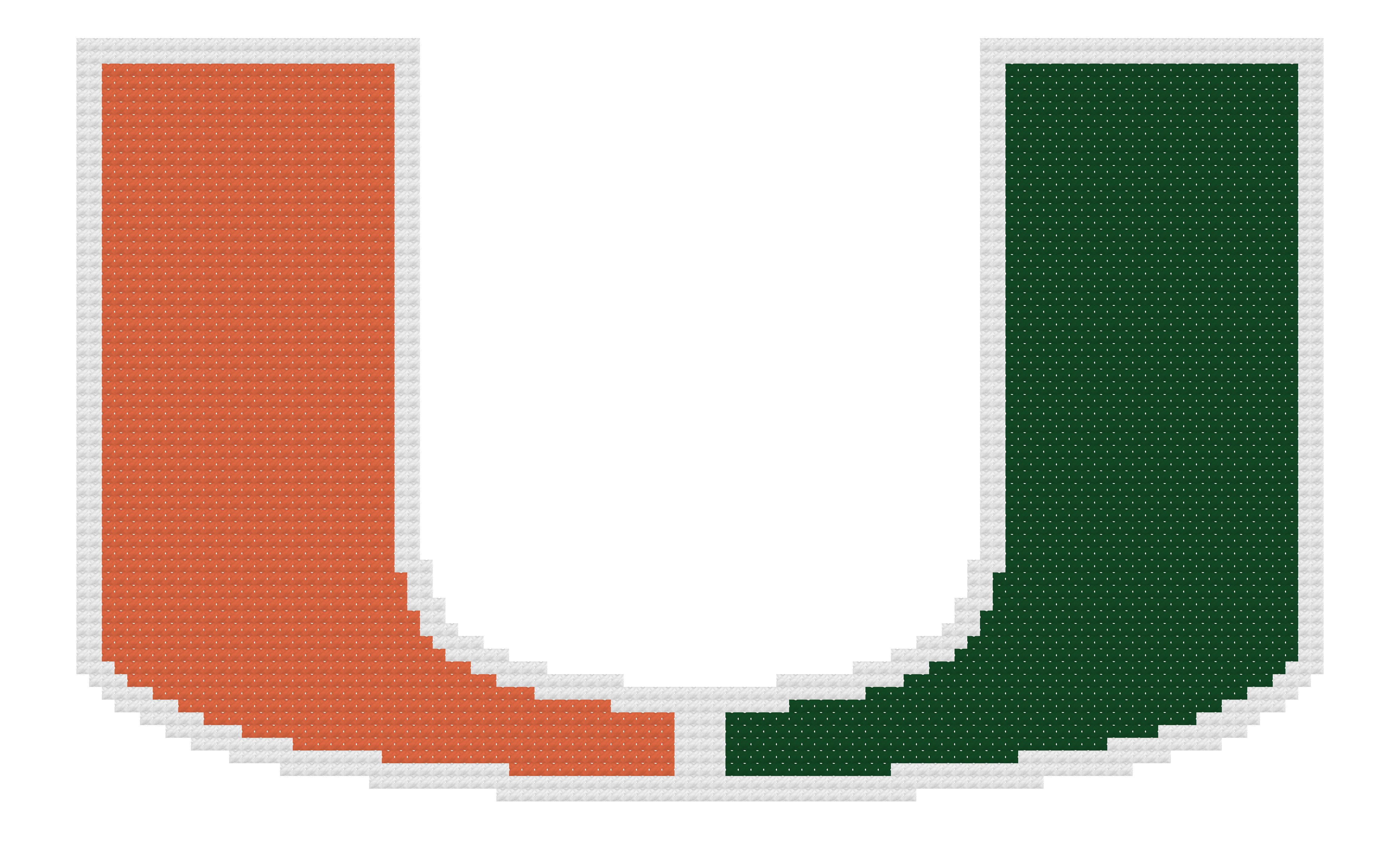 Counted Cross Stitch Pattern, Miami Hurricanes Logo.