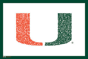 Details about Miami Hurricanes Football HAIL TO THE SPIRIT Fight Song NCAA  Logo POSTER.