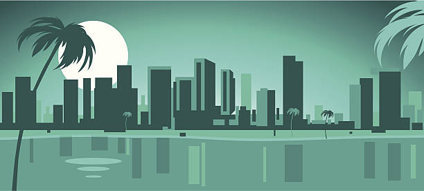 Best Miami Skyline Illustrations, Royalty.