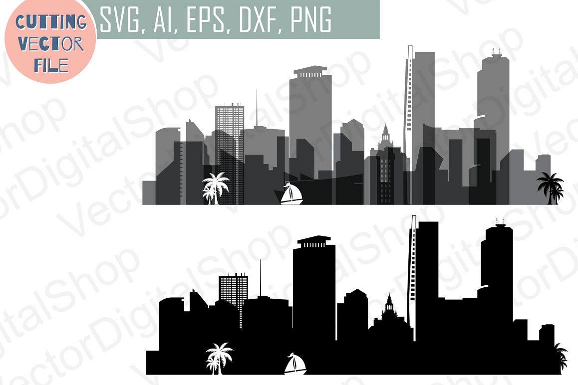 Miami Skyline Vector, Florida USA city, SVG, JPG, PNG, DWG, CDR, EPS, AI.