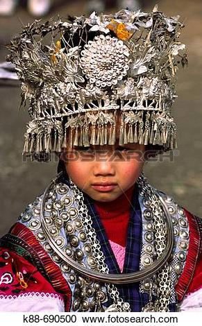 Stock Photography of Miao girl with silver headdress during the.