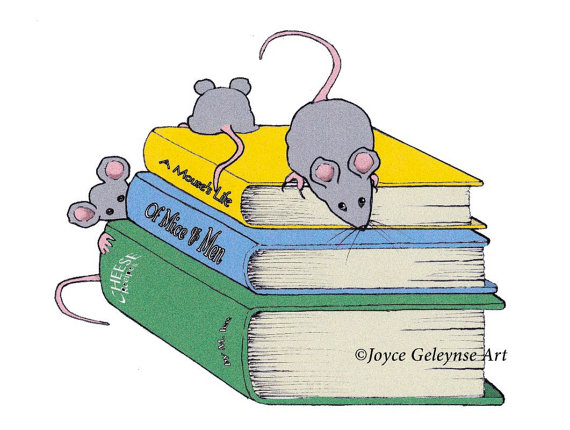 Clip Art Little Mice Playing on Stack of by ToadstoolPrintables.