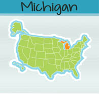 Fifty US States: Michigan Clipart.