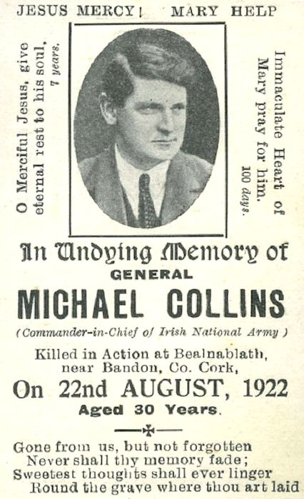 Michael Collins Memorial Card.