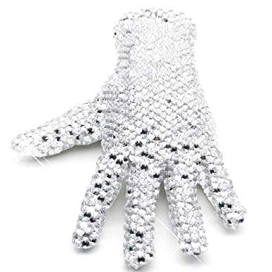 MJ Michael Jackson Glove Double Sides 3D Rhinestone Billie Jean Glove  Classic MJ Shining Crystal Glove 100g White.