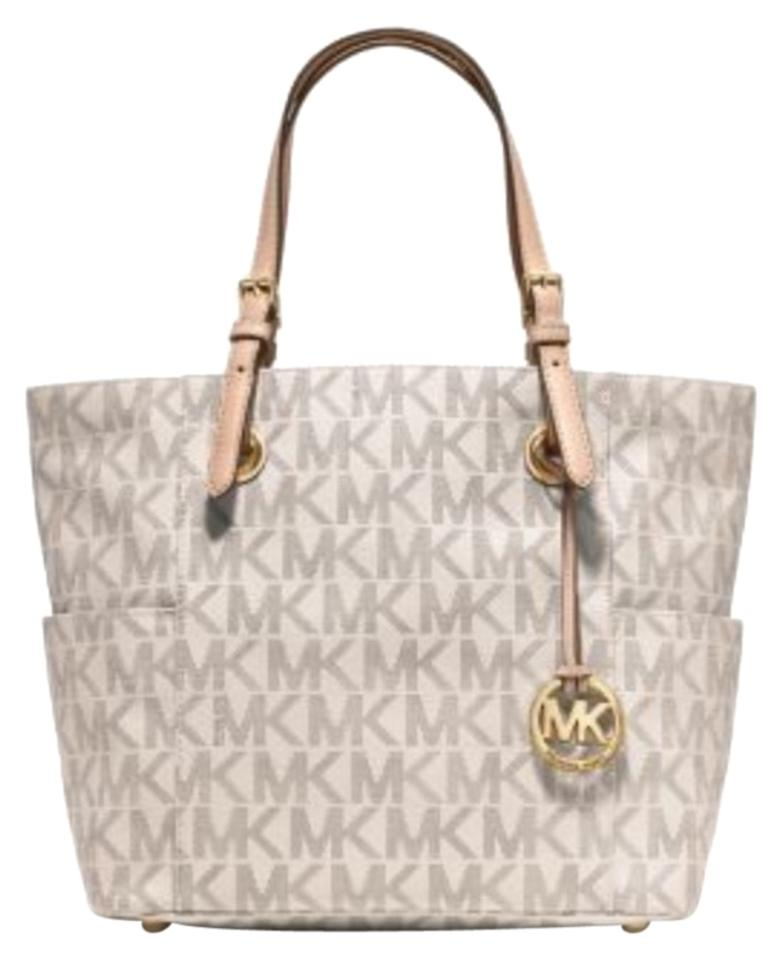 Michael Kors Jet Set Logo Vanilla Saffiano Leather Tote 31% off retail.