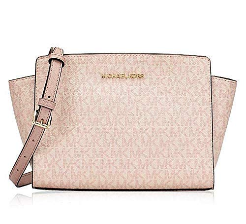 Michael Kors Women\'s Selma Medium Messenger Crossbody Bag Purse Handbag,  Fawn Ballet.