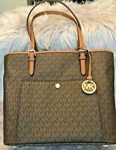 Details about Michael Kors Handbag Signature Large Handbag Purse Pocketbook  Logo Tote Brown MK.