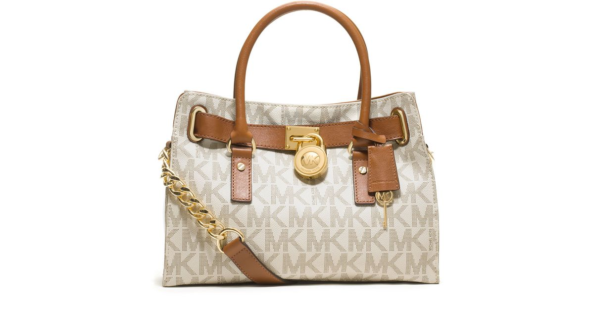MICHAEL Michael Kors Brown Hamilton Logo Satchel Bag.