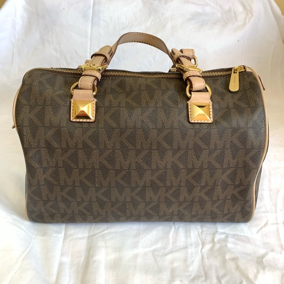 Michael Kors Satchel Brown Logo Purse Bag Barrel.