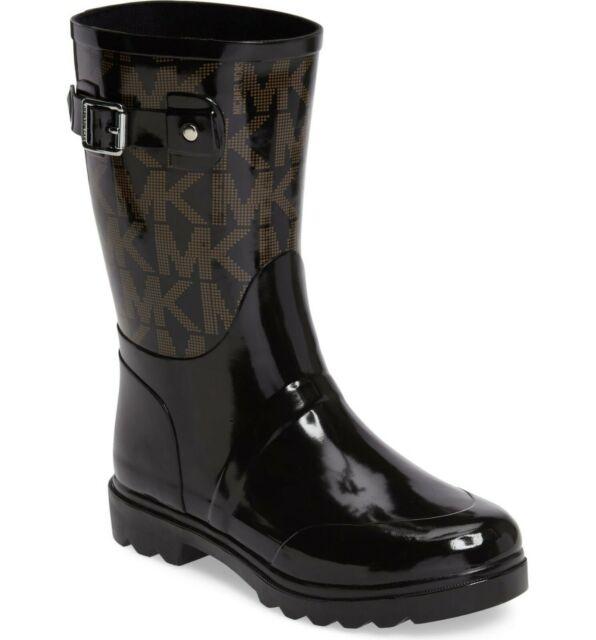 Michael Kors MK Women Rain Boots Rainboots Logo Mid Black Size 6 7 8 Brand  New.