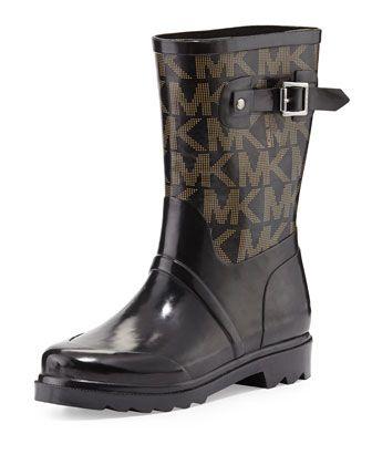 Short Logo Rain Boot Black.