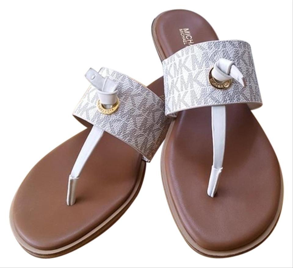 Vanilla/Cream Michael Kors Cindy Mini Mk Logo Sandals Size US 6.5 Regular  (M, B).
