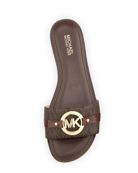 Molly Flat Logo Slide Sandal Brown.