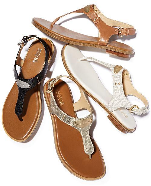 MK Plate Flat Thong Sandals.