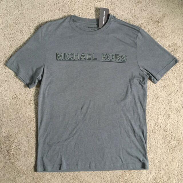 MICHAEL KORS Mens Grey Ash Melange Logo Tee Shirt KF75GJPFV4 (Large) NWT  $49.50.