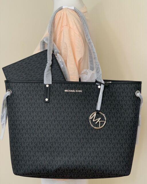 Michael Kors Jet Set Large Drawstring Signature PVC Leather Tote Bag Black.