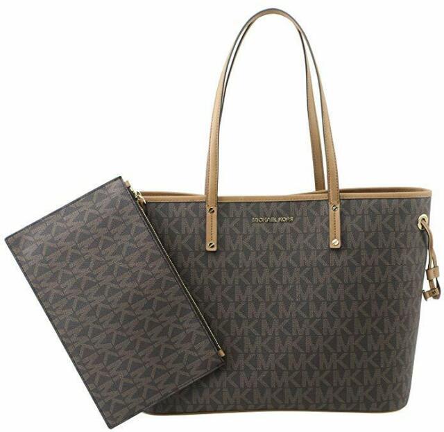 Michael Kors Large Brown Signature PVC Leather Tote Shoulder Bag & 1 Clutch.