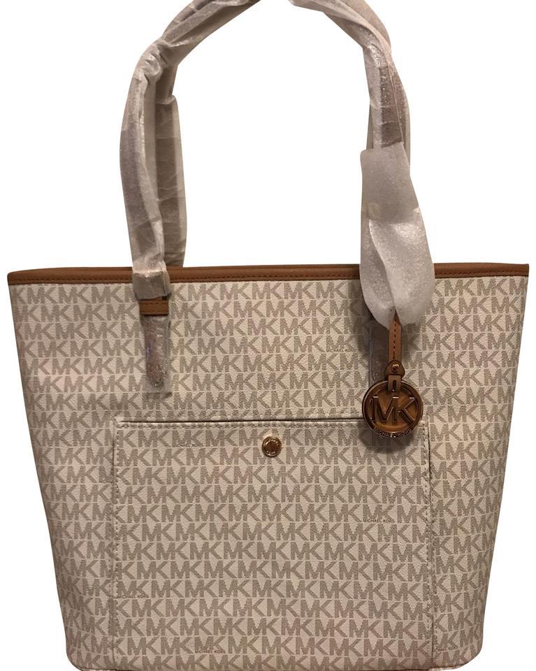 MICHAEL Michael Kors Jet Set Travel Large Logo Vanilla Saffiano Leather  Tote 41% off retail.