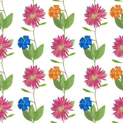 Beautiful Seamless Background With Aster Clip Art, Vector Images.
