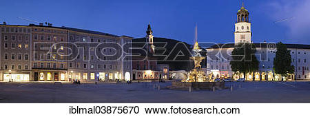 "Stock Photography of ""Residenzplatz with Residenzbrunnen fountain."