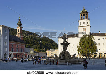 Stock Images of Austria, Salzburg, View of Michael Church.