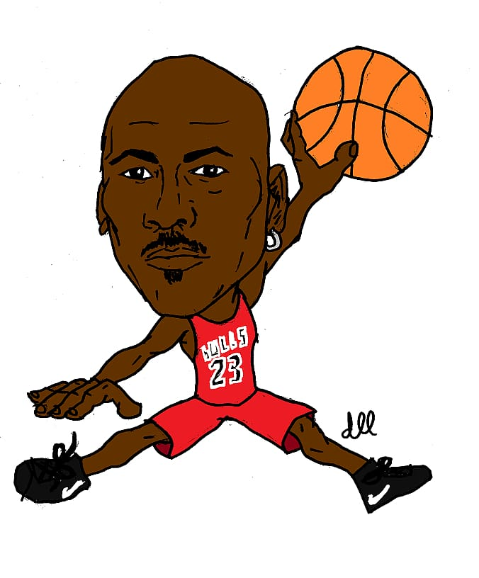 Michael Jordan illustration, Michael Jordan Jumpman Chicago.