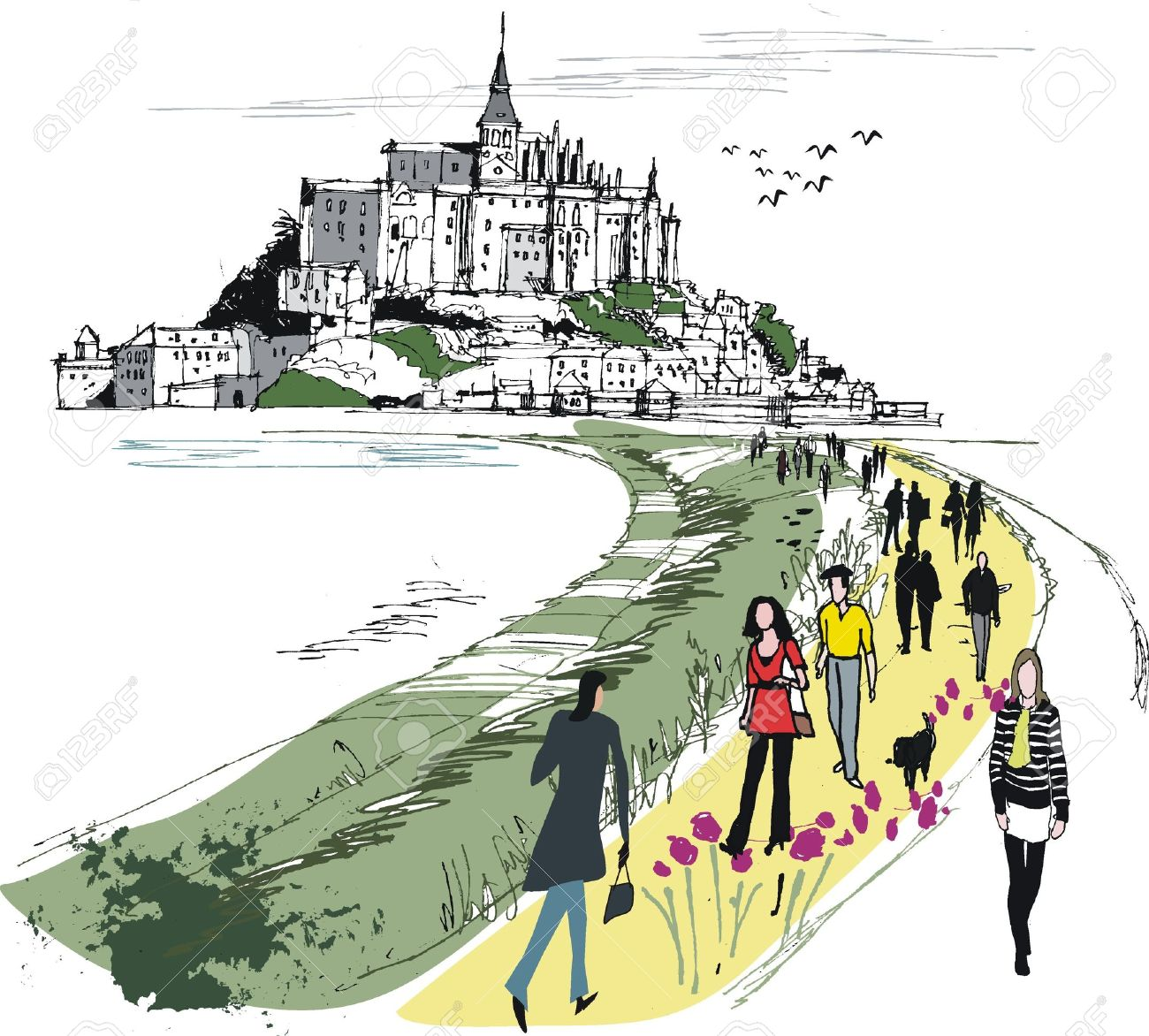 Vector Illustration Of Mont St Michel Monastery, France Royalty.