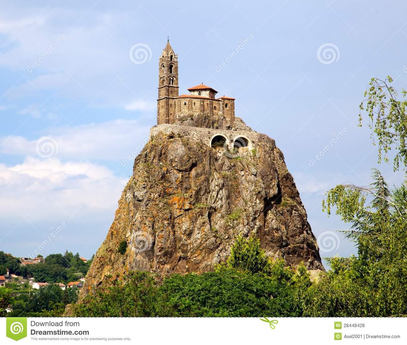 Saint Michel D'Aiguilhe Chapel On A Rock Stock Images.
