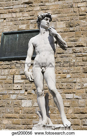 Stock Images of Statue in front of a brick wall, Michelangelo's.