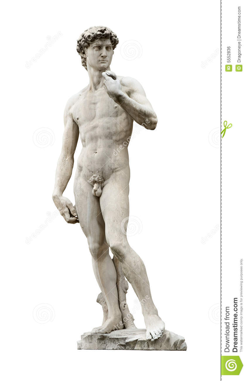 Michelangelo's David Cutout Royalty Free Stock Image.