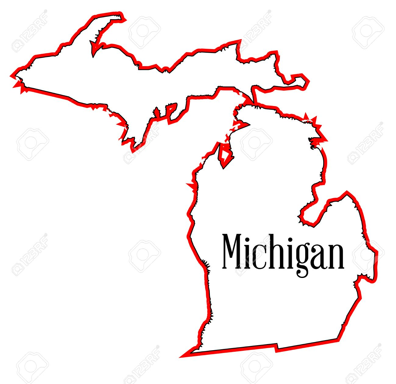 Outline map of the state of Michigan.