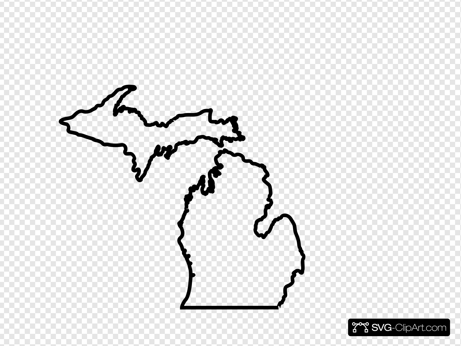 Michigan Map Outline Clip art, Icon and SVG.