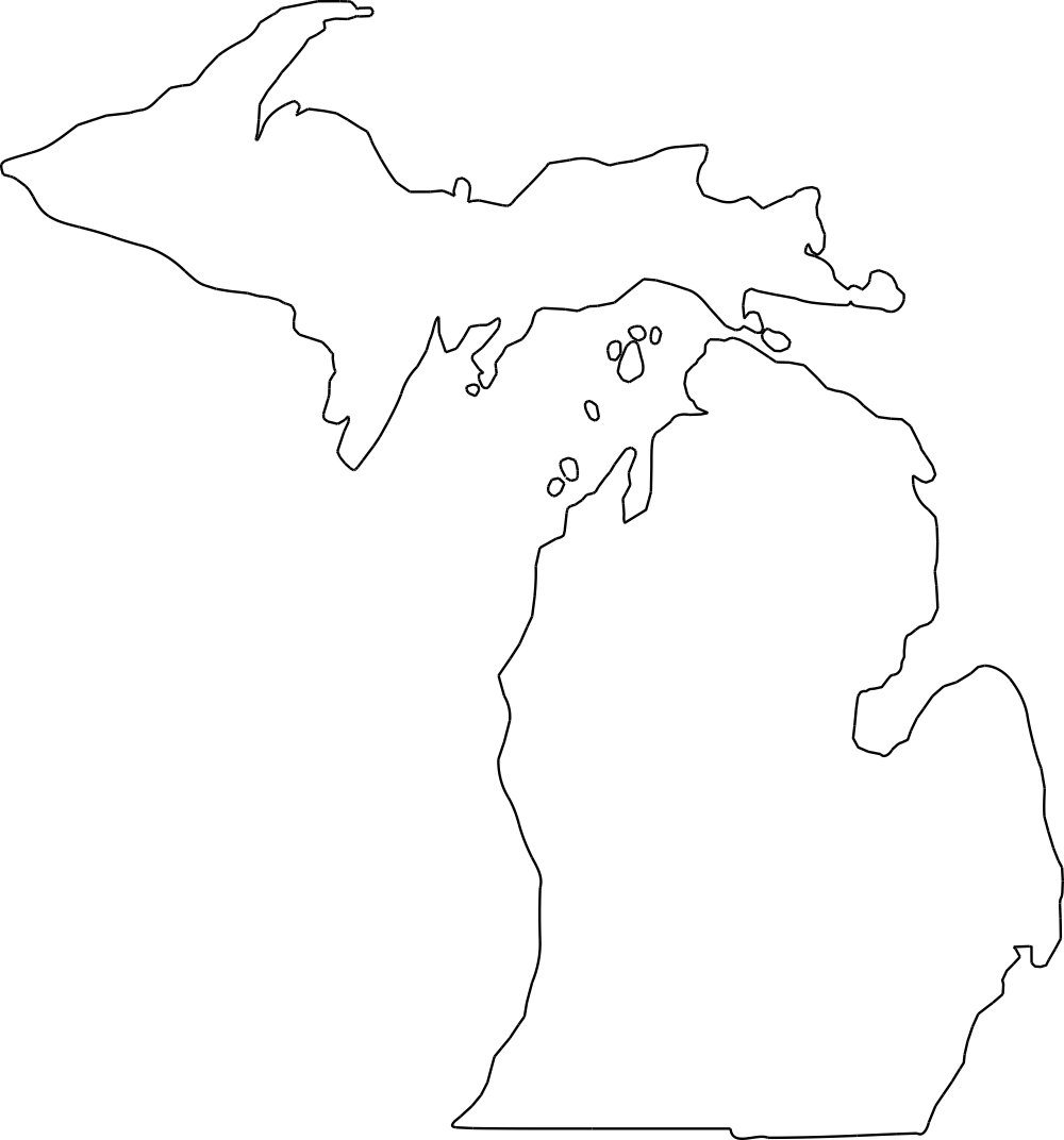 Michigan Outline DXF File Free Download.
