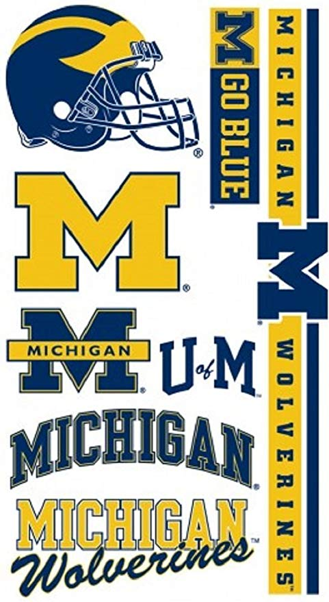 WinCraft Michigan Wolverines NCAA Logos Temporary Tattoos.