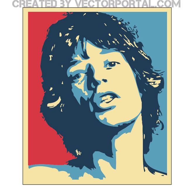 Mick Jagger vector image.