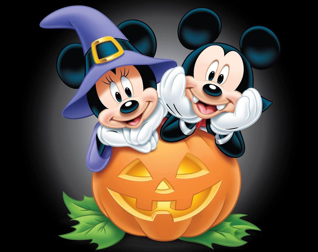 Mickey and Minnie Halloween Desktop Wallpaper.