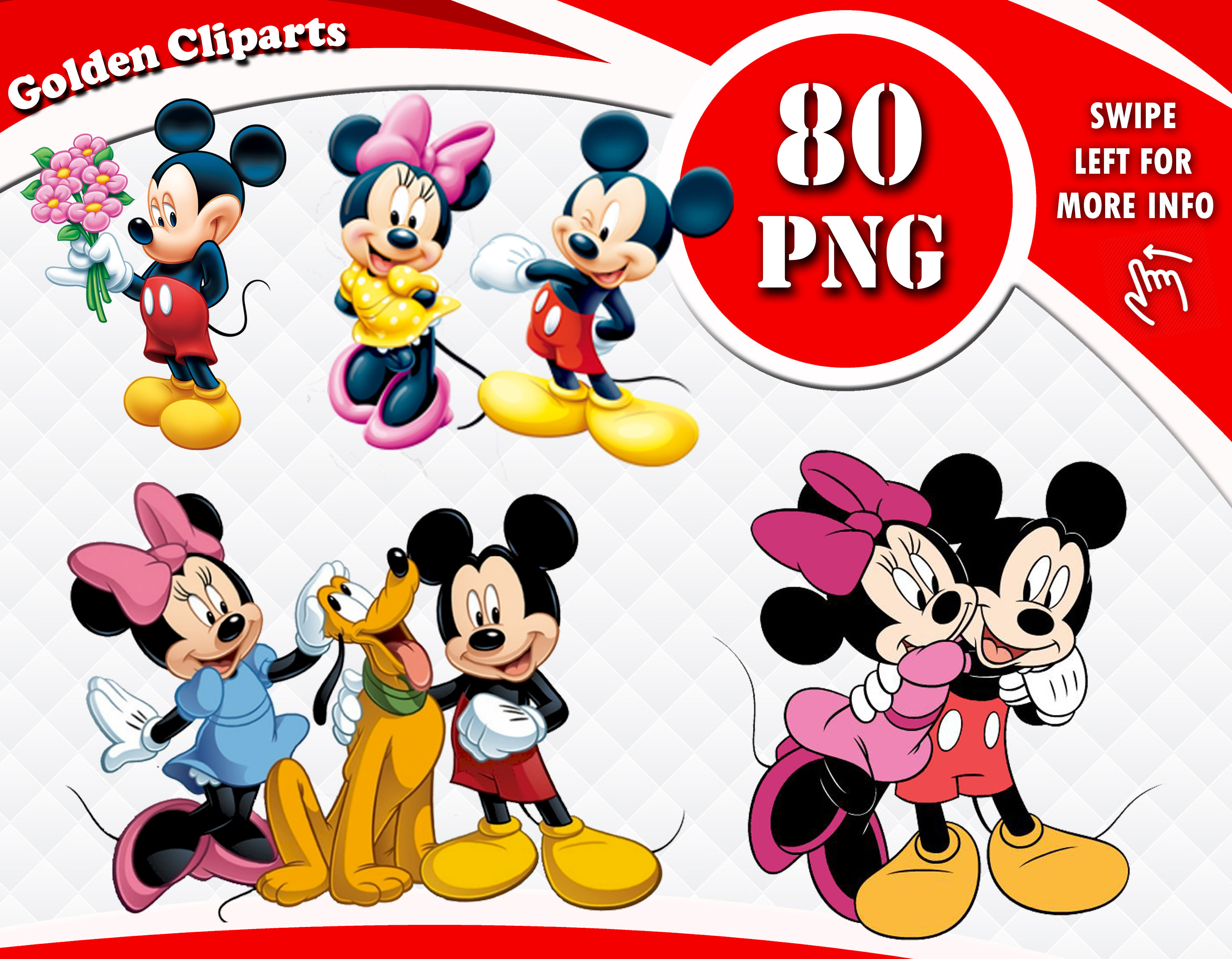 Mickey Mouse Minnie Mouse Clipart, Disney Characters PNG Files, Mickey  Minnie Clipart, Disney Cliparts, Transparent Background, Instant DL.