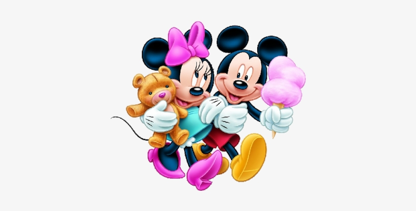 Mickey And Minnie Mouse Cartoon Characters On A Transparent.