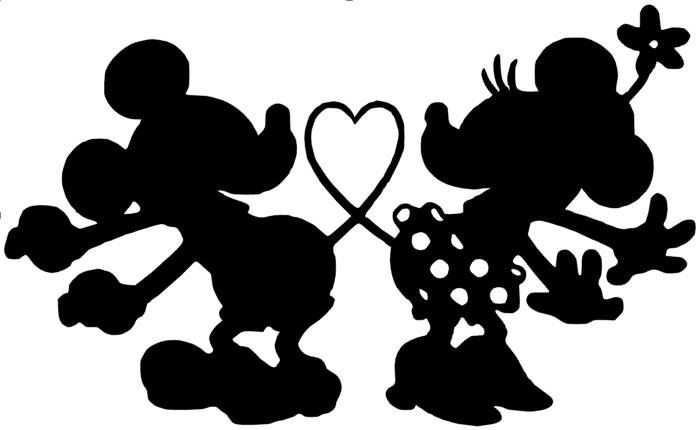 Mickey and Minnie mouse slihouette.