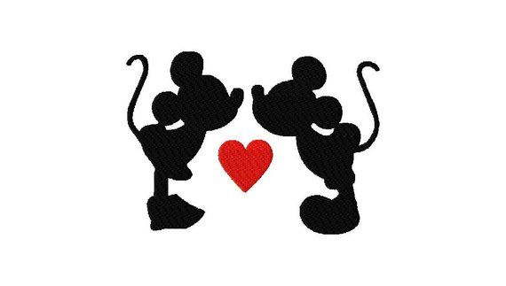 INSTANT DOWNLOAD Walt Disney Mickey and Minnie Mouse Kissing.