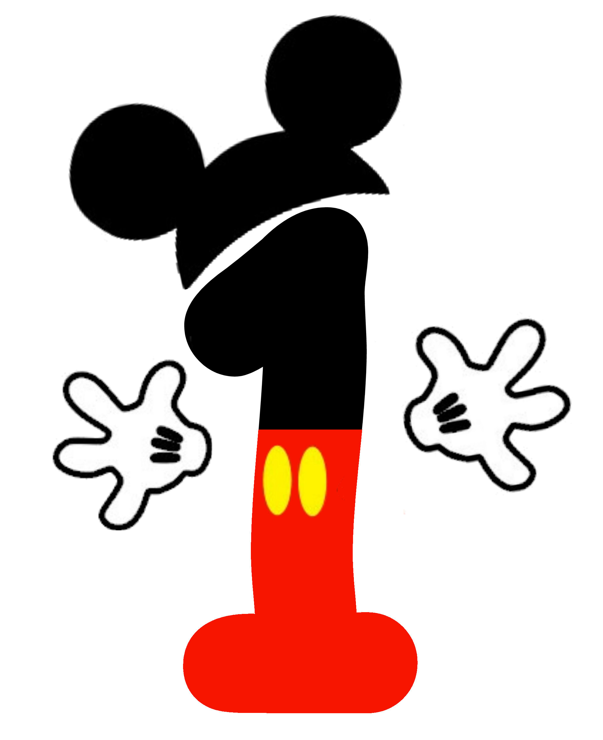 Mickey Mouse Number 1 Clipart.