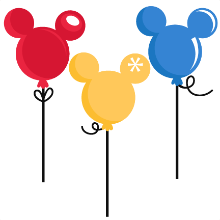 Mouse Balloons SVG cut files for scrapbooking silhouette cut.