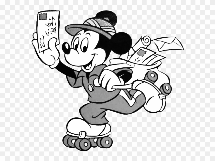 Black & White Mickey Clipart Black Mail Man Clipart.