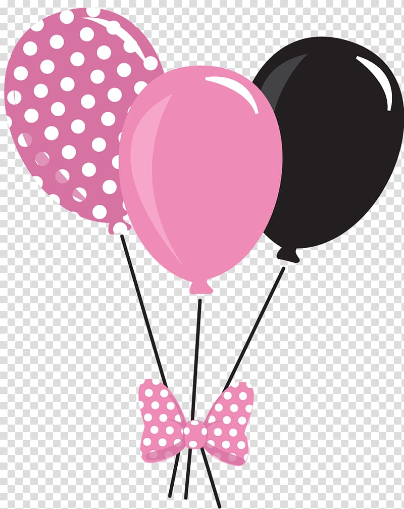 Pink and black balloons illustration, Mickey Mouse Minnie.