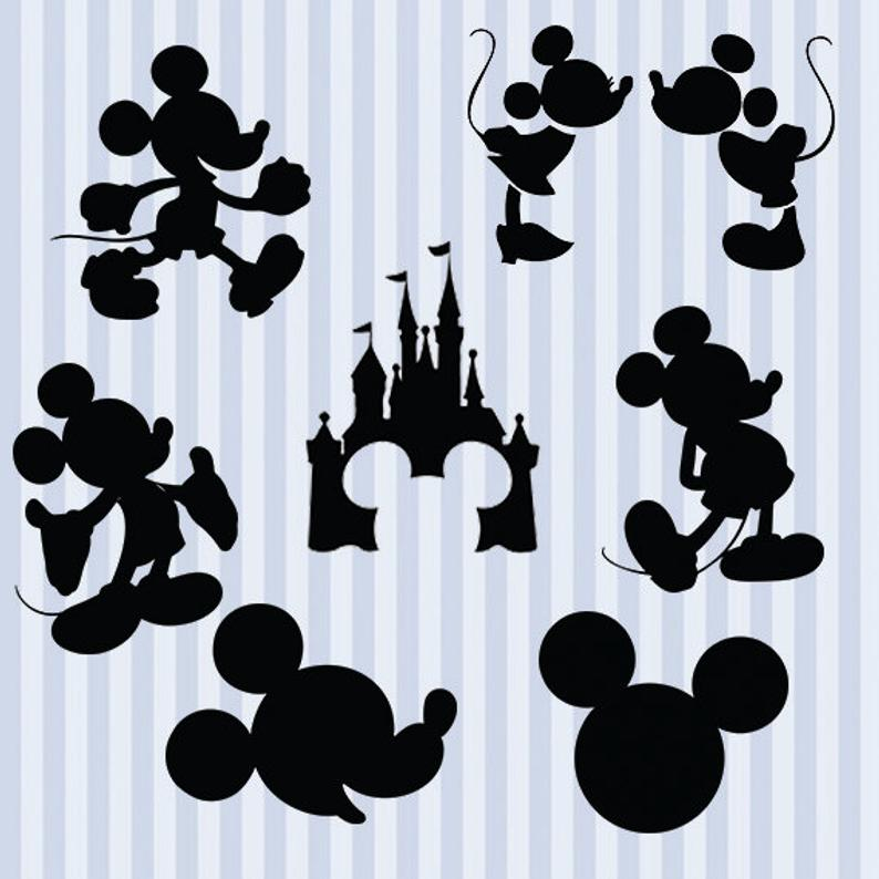 Mickey Mouse svg silhouette pack.