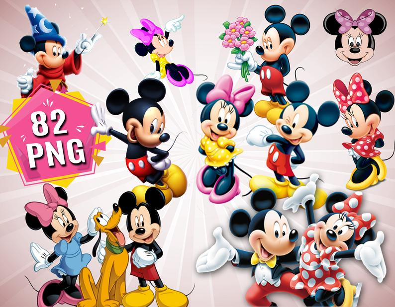 Mickey Mouse Minnie Mouse Clipart, Mickey Mouse Cartoon PNG Files, Minnie  Mouse Clipart, Mickey and Minnie Printable, Disney Clipart Bundle.
