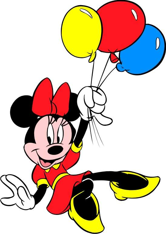 Minnie Mouse With Balloons Clipart.