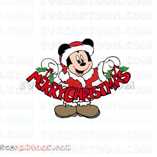 Mickey Mouse Santa with Word Christmas svg dxf eps pdf png.